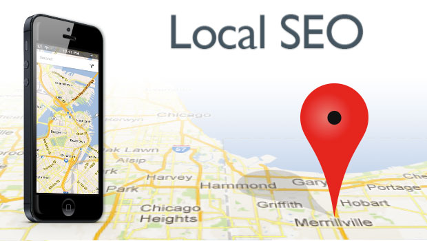 local seo with map of chicago and mobile phone